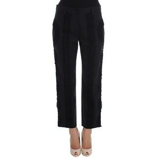 Dolce & Gabbana Black Cotton Stretch Torero Capris Pants