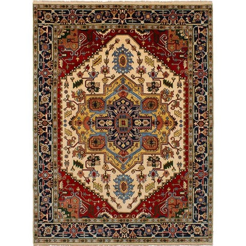 ECARPETGALLERY Hand-knotted Serapi Heritage Ivory Wool Rug - 7'10 x 10'2
