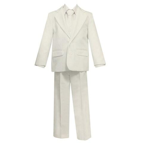Big Boys Ivory 5 Pcs Shirt Vest Jacket Tie Pants Suit
