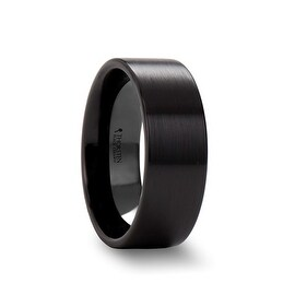 DRAKON Flat Pipe Cut Brush Finished Black Ceramic Wedding Band 8mm