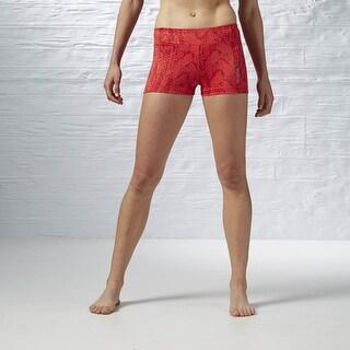 Reebok Women's Sweater Print Yoga Hot Shorts - Poppy Red