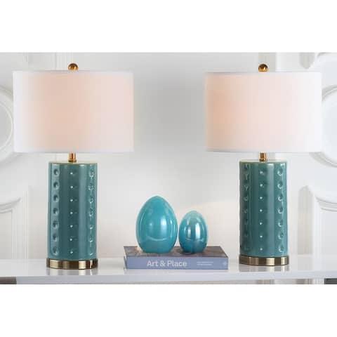 "SAFAVIEH Lighting 26-inch Blue Roxanne Table Lamp (Set of 2) - 15""x15""x26"""