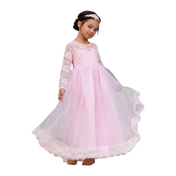 e0fad32d249dd Shop Little Girls Light Pink Lace Tulle Open Back Floor Length ...