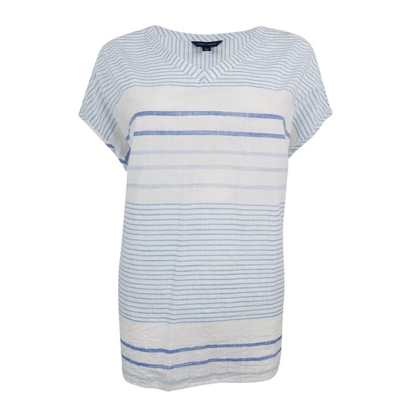 ce9b58643 Shop Tommy Hilfiger Women's Striped V-Neck Top - Snow White/Blue - On Sale  - Free Shipping On Orders Over $45 - Overstock - 17802957