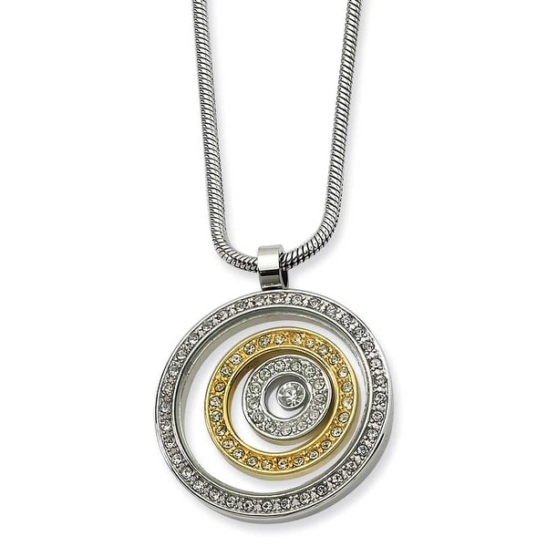 Chisel Stainless Steel and IP-plated CZ Circle Pendant Necklace (2 mm) - 20 in