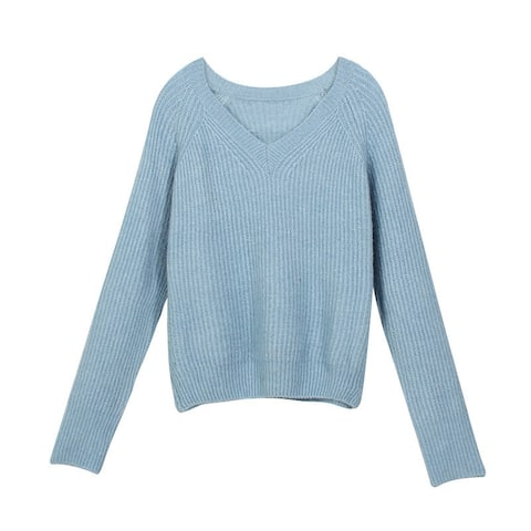 Korean Drop Rotator Sleeves Loose V-Neck Solid Color Women's Knit Sweater