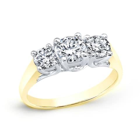 Auriya 14k Gold 1ctw Round 3-Stone Diamond Engagement Ring
