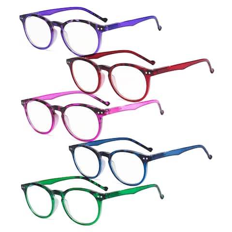 Eyekepper 5 Pack Round Reading Glasses - Stylish Oval Ladies Readers