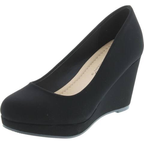 City Classified Womens Thomas Comfortable Office Dress Platform Wedge Heel - Black