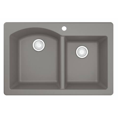 "Top Mount 33-inch Large/Small Bowl Quartz Kitchen Sink - 33"" x 22"" x 9"""