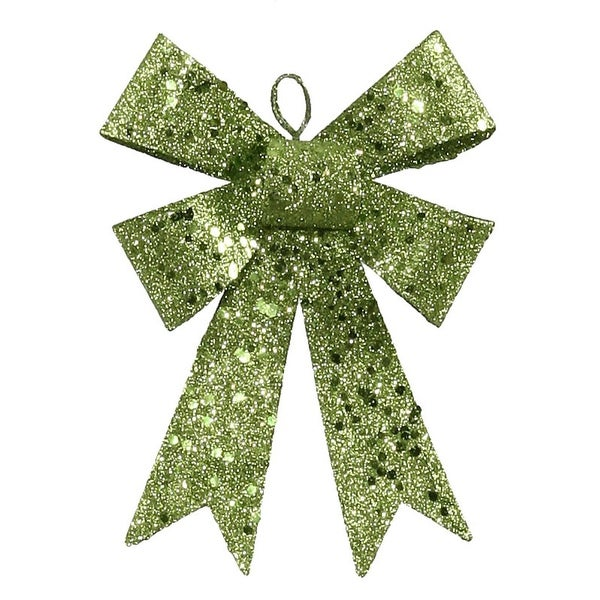 """5"""" Lime Green Sequin and Glitter Bow Christmas Ornament"""