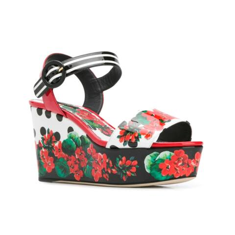 Dolce & Gabbana Women's Patent Leather Floral Print Platform Wedge Sandals Red