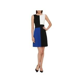 Tommy Hilfiger Womens Scuba Dress Above Knee Colorblock - 6