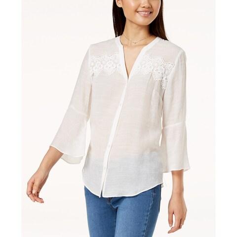 BCX White Size Medium M Junior's Bell Sleeve Button Up Blouse