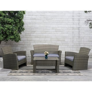 Link to 4 Piece Patio Outdoor Seating Group with Glass-top Coffee Table Similar Items in Outdoor Sofas, Chairs & Sectionals