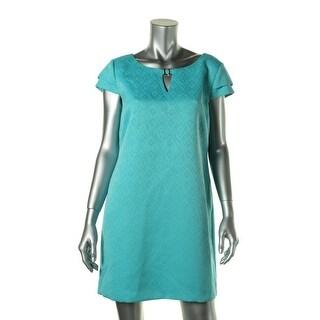 Tahari ASL Womens Petites Harry Embroidered Keyhole Casual Dress - 10P