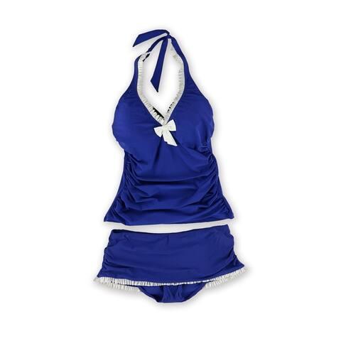 Profile Womens Trimmed Ruffle Skirt 2 Piece Tankini, Blue, 34D
