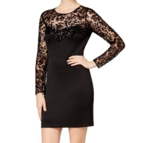 Shop Guess New Black Womens 2 Long Sleeve Lace Trim Sequin Sheath