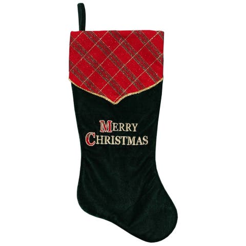"19"" Green and Red ""Merry Christmas"" Christmas Stockings"