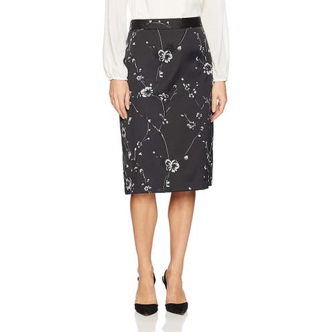 Max Studio Women's Jacquard A-line Skirt, Blk/Pewter, 2, Blk/Pewter, Size 2.0 - Blk/Pewter - 2