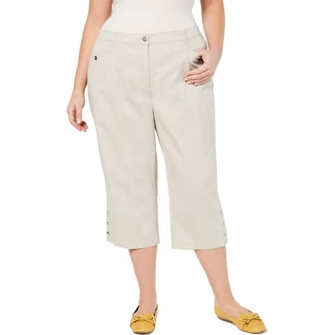 Karen Scott Womens Plus Capri Pants Tummy Control Comfort Waist