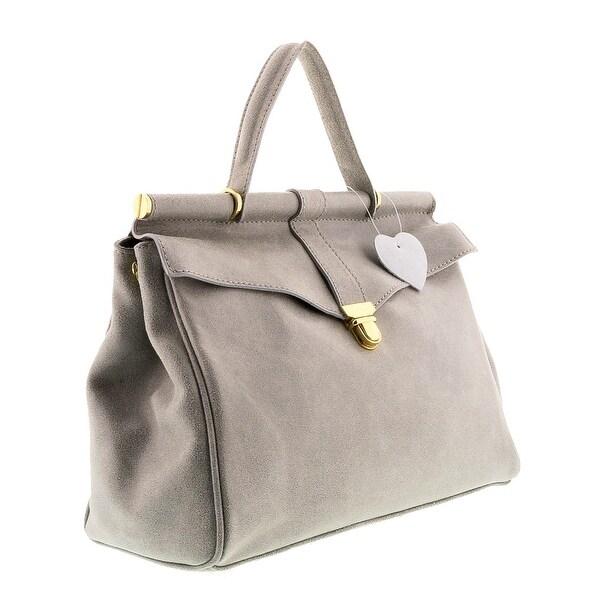 HS2071 VIVI Grey Leather Top Handle/Shoulder Bag - 19-9.5-5