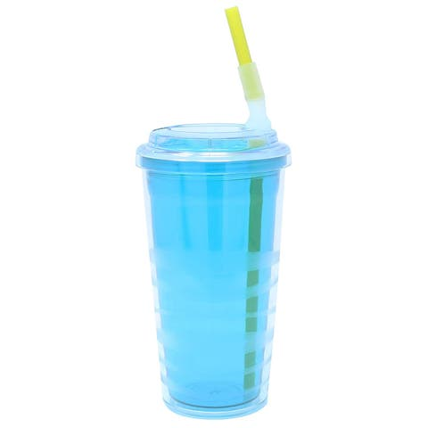 Copco Lock-N-Roll Tumbler With Flip Up Straw - Spill-Proof, Double Wall Insulation, BPA Free 16 Oz - Teal Blue - Teal Blue