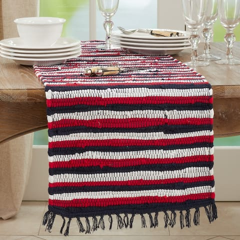 Chindi Table Runner With Striped Patriotic Design