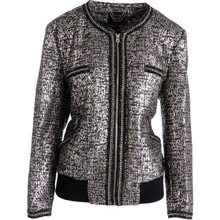 Juicy Couture Black Label Womens Metallic Tweed Jacket