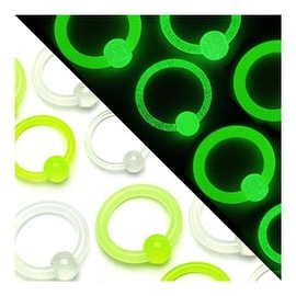 "Acrylic Glow in the Dark Captive Bead Ring - 1/2"" Long (Sold Ind.)"