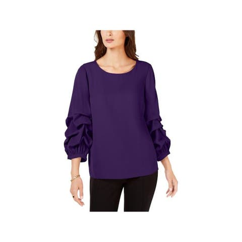 ALFANI Womens Purple 3/4 Sleeve Blouse Wear To Work Sweater Size M