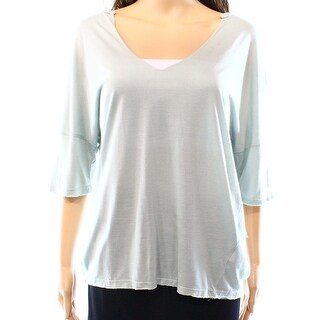 Project Social T NEW Green Women's Size Large L V-Neck Solid Knit Top