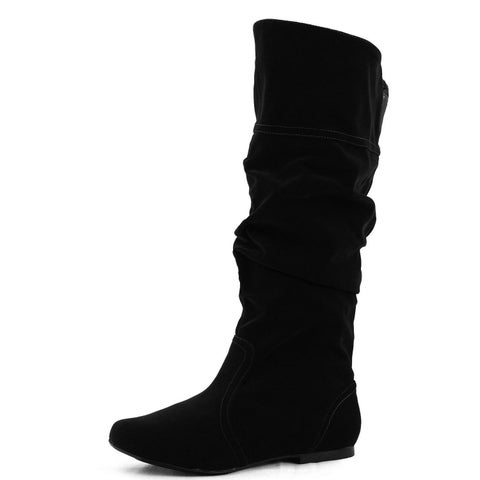 Qupid Neo-144 Classic Basic Casual Slouchy Flat Knee High Boot