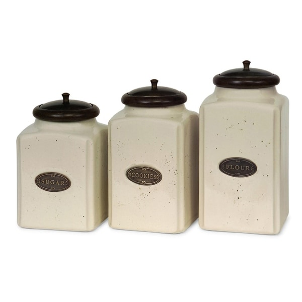 Set Of 3 Labeled Ivory Ceramic Kitchen Canisters With Lids White