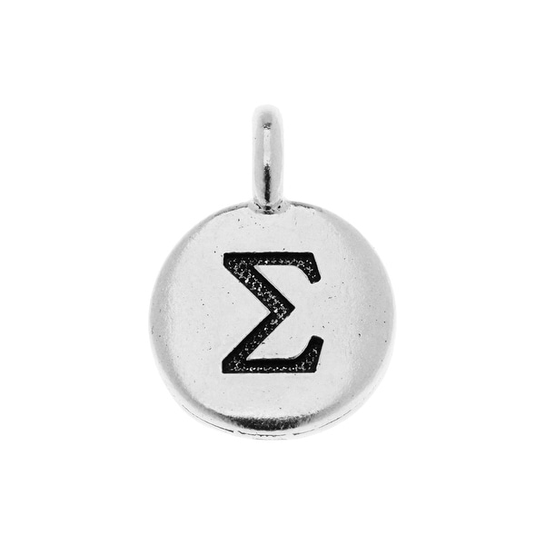 TierraCast Greek Alphabet Charm, Sigma Symbol 16.75x11.75mm, 1 Piece, Antiqued Silver Plated