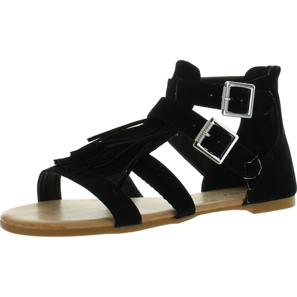 Bamboo Womens Dino-52 Strappy Fringe Flat Sandals New