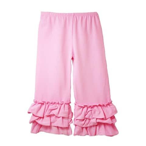 Girls Pink Triple Tier Ruffle Cuffed Cotton Spandex Pants 12M-7