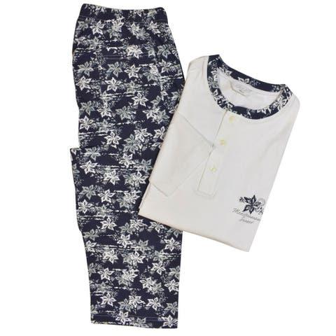 Grigio Perla White Navy Pajama Set
