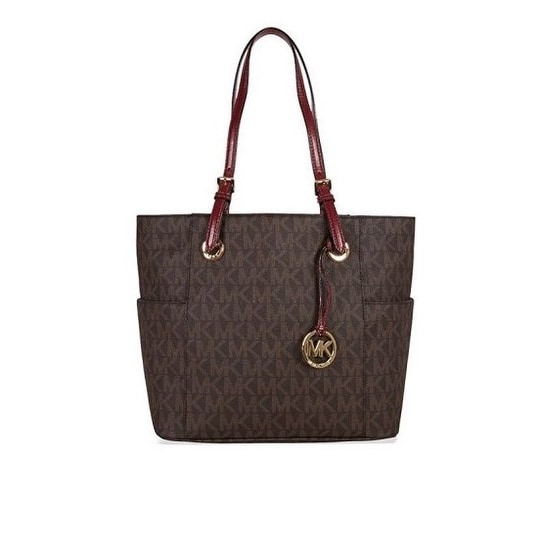 2029076622fd Shop Michael Kors Jet Set East West Signature Brown Cherry Tote - Free  Shipping Today - Overstock - 20178136