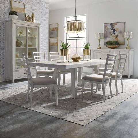 Modern Farmhouse Flea Market White 7-piece Trestle Table Set