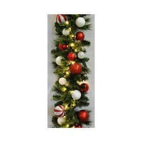 Christmas at Winterland WL-GARBM-09-CDY-LWW 9 Foot Pre-Lit Warm White LED Blended Pine Garland Decorated with Candy Ornaments