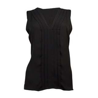Calvin Klein Women's Pleated V-Neck Chiffon Top