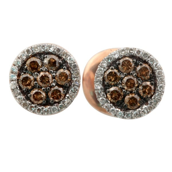 Brand New 0.50 Carat Round Brilliant Cut Natutal Brown & White Diamond Cluster Earring