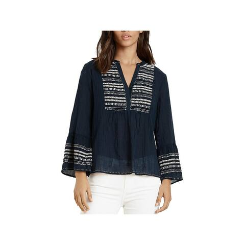 VELVET BY GRAHAM & SPENCER Womens Pullover Top Cotton Embroidered - Navy