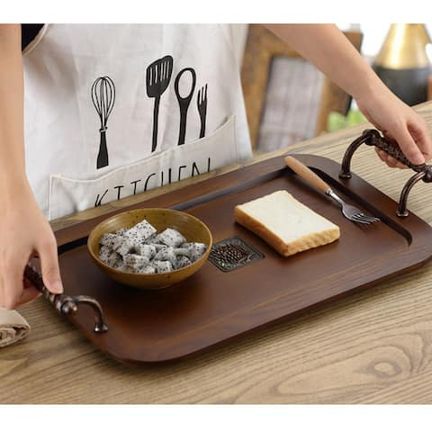 Serving Platter Tray with Handles, Coffee Table Tray for Living Room, Kitchen