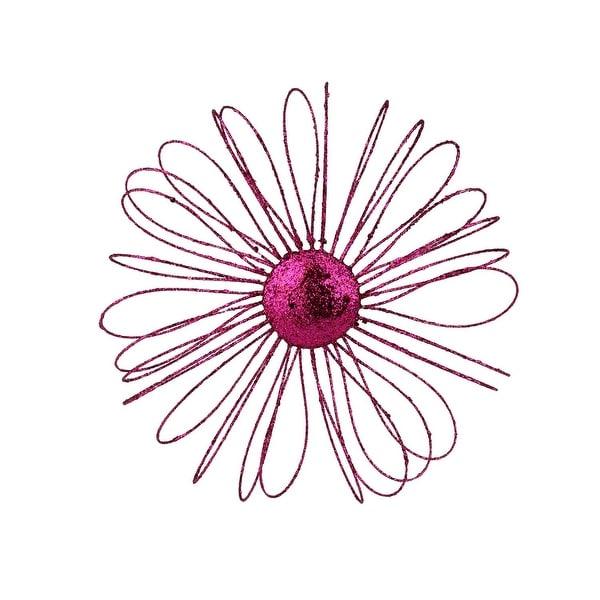 "9"" Fuchsia Glitter Daisy Christmas Ornament - PInk"