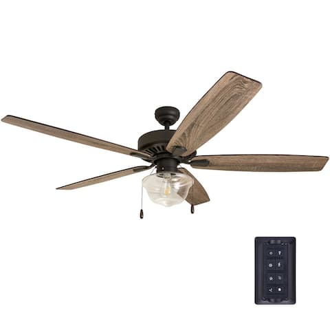The Gray Barn Lyme Park 60-inch Coastal Indoor LED Ceiling Fan with Remote Control 5 Reversible Blades - 60