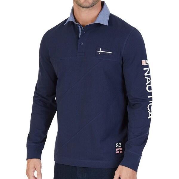 2e7e94593 Shop Nautica Blue Mens Size 2XL Embroider Chambray Collar Polo Shirt - Free  Shipping On Orders Over  45 - Overstock - 26905541