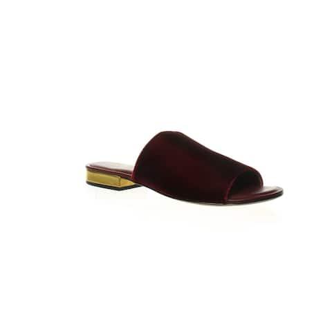 Diane von Furstenberg Womens Samassi Bordeaux Velvet Slides Size 6