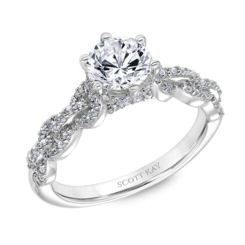 Platinum 0.50 CT Moissanite Ladies Engagement Ring with Encrusted Links Down the Shank by Scott Kay - White